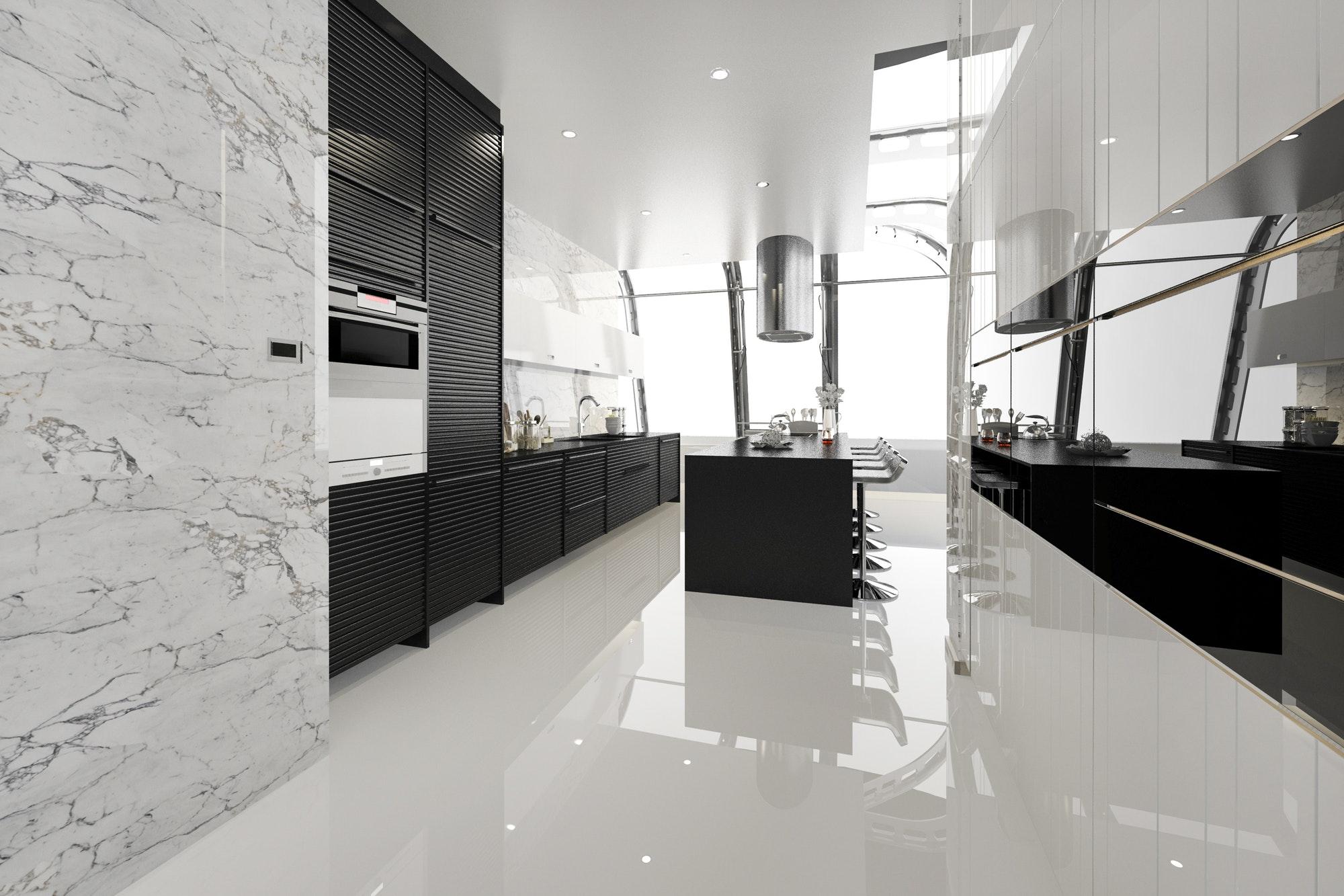 3d rendering modern black kitchen with modern wood built in