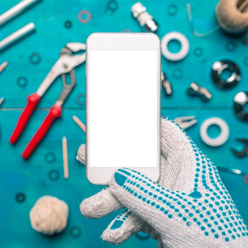 Plumbing app for mobile phones mock up