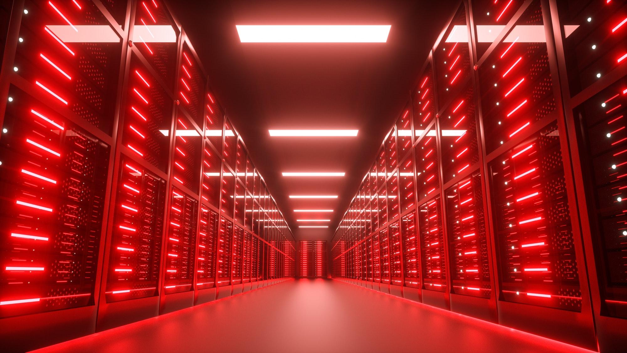 Endangered, hacked Server room interior in datacenter, red lights. 3D Render